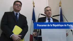 François Molins, le procureur de Paris, lors de la conférence de presse sur l'attentat déjoué, le 22 avril 2015 à Paris.