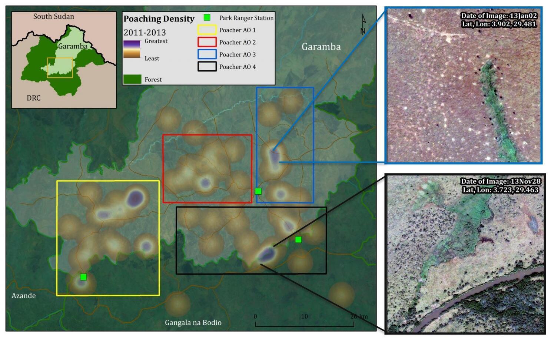 Carte et images satellite observant les braconniers d'éléphants dans le parc national de la Garamba en République démocratique du Congo.