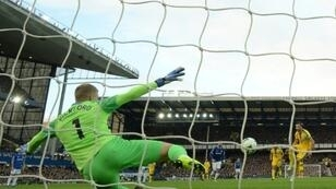 Everton goalkeeper Jordan Pickford saved a penalty from Luka Milivojevic during a 2-0 win over Crystal Palace