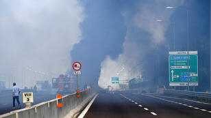 La autopista A14, cercana al aeropuerto de Bolonia, Italia fue cerrada debido a la explosión de un vehículo de carga el 6 de agosto de 2018.