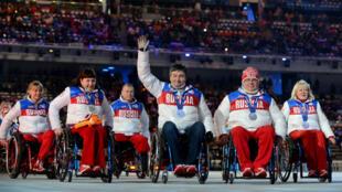 La délégation russe lors de la cérémonie de clôture des Jeux paralympiques de Sochi en mars 2014.
