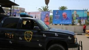 إعلانات دعائية للمرشحين للانتخابات التشريعية العراقية في بغداد في 14 نيسان/أبريل 2018