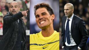 L'entraîneur catalan Pep Guardiola, le tennisman Rafael Nadal et le coach du Real Madrid, Zinédien Zidane.
