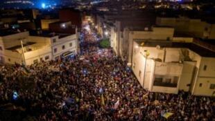 تظاهرة حاشدة في شوارع الحسيمة شمال المغرب 31 أيار/مايو 2017
