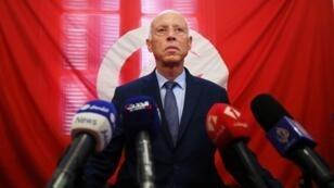 قيس سعيّد خلال مؤتمر صحافي في تونس العاصمة. 17 سبتمبر/أيلول 2019.