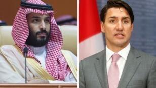 Mohámed bin Salmán, príncipe de Arabia Saudita y Justin Trudeau, primer ministro de Canadá.