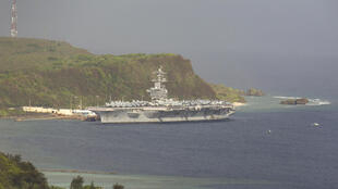 The nuclear powered aircraft carrier USS Theodore Roosevelt is docked at the US naval base in Guam for cleaning after a sweeping COVID-19 outbreak amond the nearly 5,000 crew.
