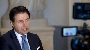 El primer ministro italiano Giuseppe Conte en una entrevista con AFP el 16 de junio en Roma, Italia.