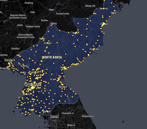 La répartition des 436 marchés sur le territoire nord-coréen