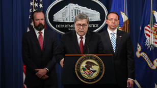 Le ministre américain de la Justice, William Barr, lors d'une conférence de presse le 18avril2019.