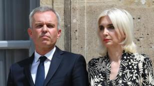 François de Rugy et son épouse Séverine Servat, le 17 juillet 2019 à Paris.
