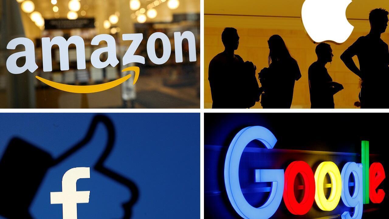 Los logotipos de Amazon, Apple, Facebook y Google se ven en una foto combinada de los archivos de Reuters.