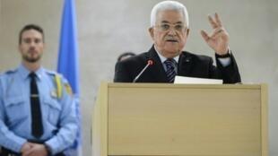 محمود عباس خلال اجتماع مجلس حقوق الإنسان في جنيف 28 تشرين الأول/أكتوبر 2015