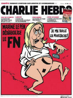 "In April 2011, Charlie offered its (less than gracious) take on Marine Le Pen's efforts to ""detoxify"" her party. It involved the FN leader taking a razor to her pubic hair, shaped as a Hitler moustache."