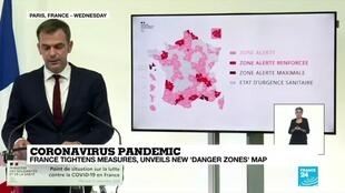 2020-09-24 08:06 Coronavirus pandemic: France tightens measures, unveils new 'danger zones' map
