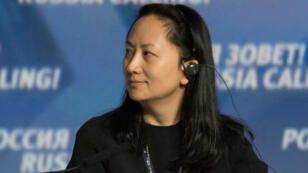 """Meng Wanzhou, Directora Ejecutiva de la junta del gigante tecnológico chino Huawei, durante una sesión del Foro de Inversión de Capital de VTB """"¡Rusia está llamando!"""" en Moscú, Rusia, 2 de octubre de 2014."""