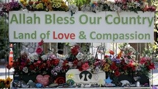 Flowers and messages are seen outside the Al Noor mosque, two days ahead of the first anniversary of the Christchurch mosque shootings, in Christchurch on March 13, 2020.