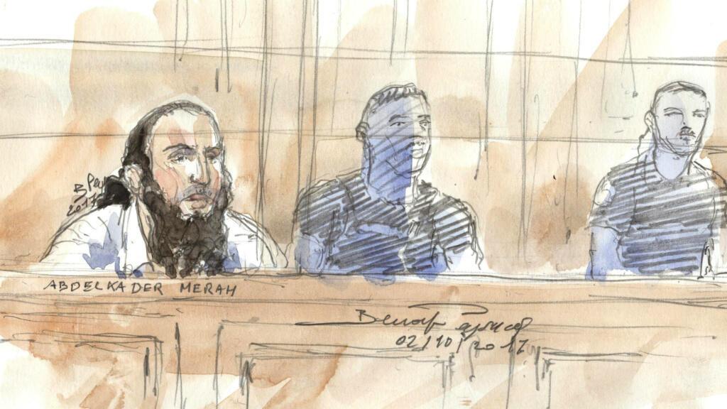 Dessin de presse d'Abdelkader Merah, lors de son procès devant la cour d'assise spéciale de Paris, le 2 octobre 2017.
