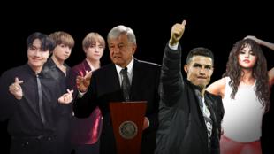 De izquierda a derecha: BTS, Andrés Manuel López Obrador, Cristiano Ronaldo y Selena Gomez, con imágenes de Reuters.