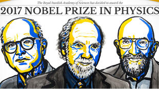 De g. à d. : Rainer Weiss, Barry C. Barish et Kip S. Thorne, lauréats du prix Nobel de physique 2017.
