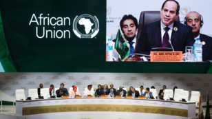 El presidente de Egipto y de a Unión Africana, Abdel Fattah al-Sissi, durante la inauguración de la XII Cumbre Extraordinaria de la Unión Africana en Niamey, Níger. 7 de julio de 2019.
