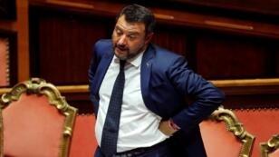 وزير الداخلية الإيطالي ونائب رئيس الوزراء ماتيو سالفيني أمام مجلس الشيوخ، روما، إيطاليا، 5 أغسطس/آب 2019