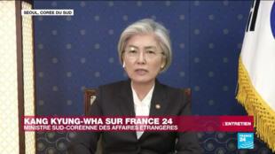 Kang Kyung-wha, la chef de la diplomatie sud-coréenne, sur France 24 lundi 13 avril 2020.