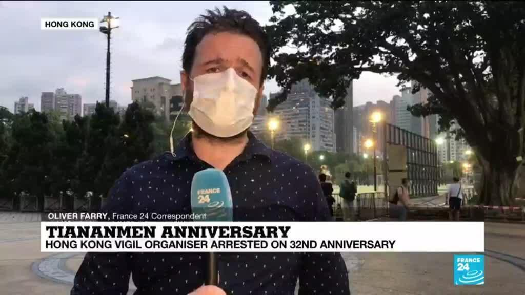 2021-06-04 13:01 Tiananmen anniversary: Hong Kong vigil organiser arrested