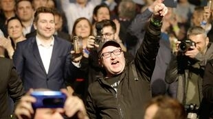 Supporters react as Ordinary People and Independent Personalities (OLaNO) party leader Igor Matovic arrives at his party's headquarters during the parliamentary election, in Trnava, Slovakia, February 29, 2020.