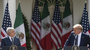 US President Donald Trump (right) and Mexican President Andres Manuel Lopez Obrador hold a joint press conference in the Rose Garden of the White House on July 8, 2020