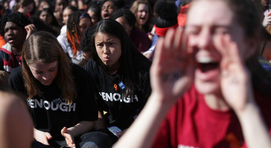 Protesta de estudiantes frente al Capitolio,en Washington, EE. UU.,para exigir leyes sobre el control de armas, el 14 de marzo de 2019, en el marco dle primer año de la masacre en Parkland, Florida.