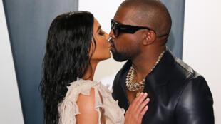 Kim Kardashian West et Kanye West à une soirée post-Oscars à Beverly Hills, en février