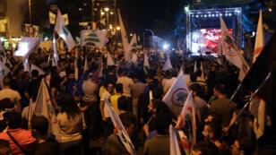 Des manifestants pro-Gemayel dans le quartier chrétien d'Achrafieh, à Beyrouth, le 20 octobre 2017.