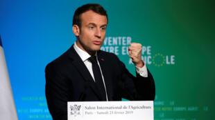 إيمانويل ماكرون لدى افتتاحه معرض الزراعة الدولي في باريس. 2019/02/23