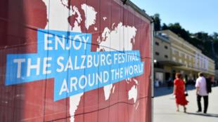 Une affiche pour le festival de Salzbourg, le 1er août 2020, en Autriche