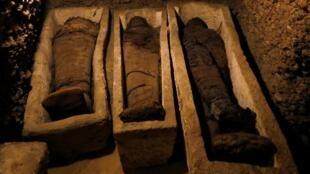 صورة من المومياوات التي تم العثور عليها في المنيا