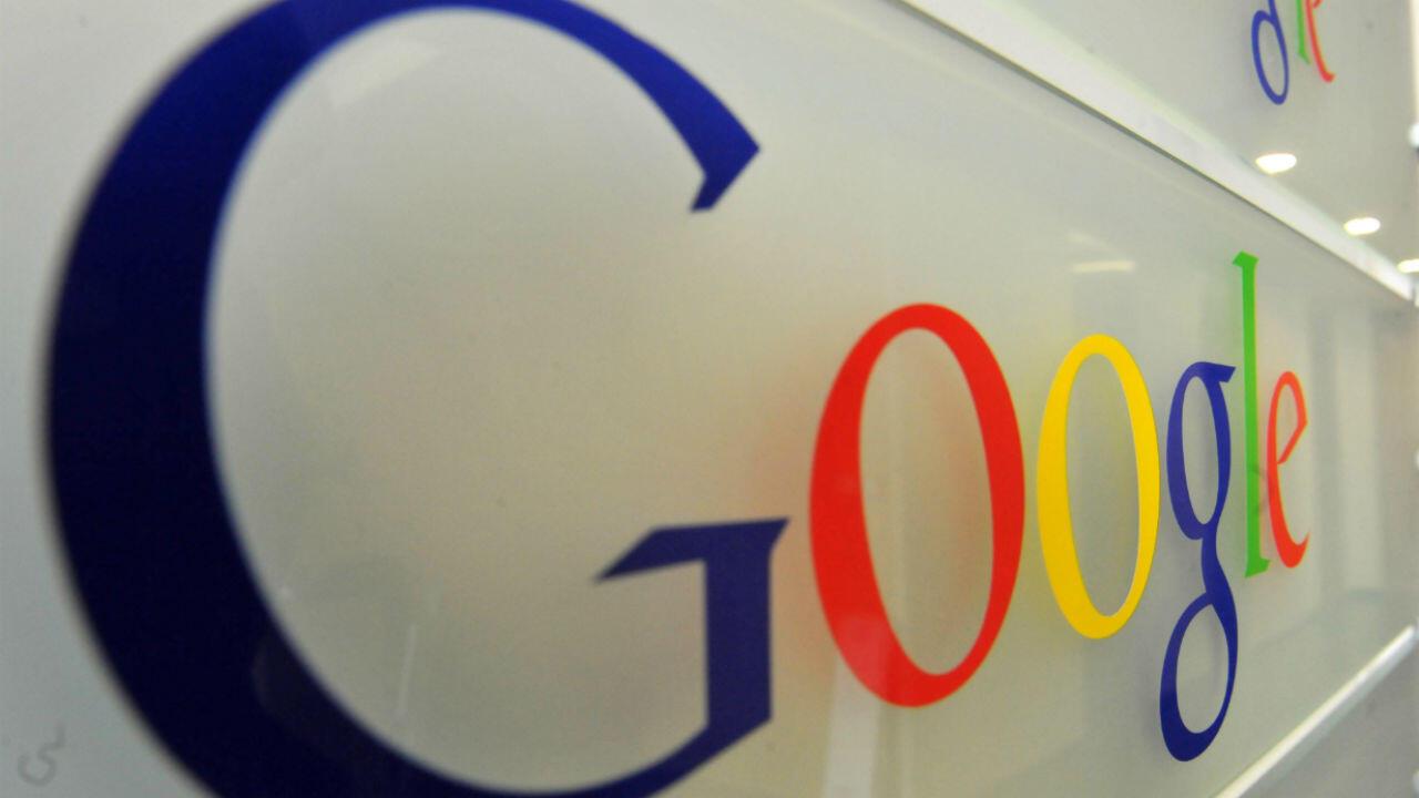 Le logo de Google dans les bureaux du géant américain à Bruxelles.