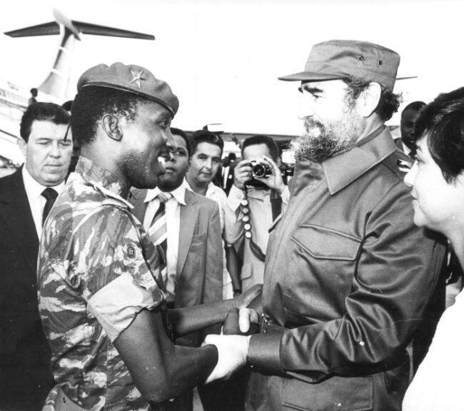 Thomas Sankara avec Fidel Castro, lors de sa visite à La Havane en septembre 1984.