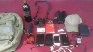 Estas fueron las pertenencias decomisadas a los periodistas Jesús Medina, Roberto Di Mateo y Filippo Rossi, que estuvieron cerca de 24 horas detenidos en la cárcel de Tocorón, Venezuela.