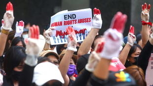 MYANMAR PROTESTS THREE FINGER SALUTE