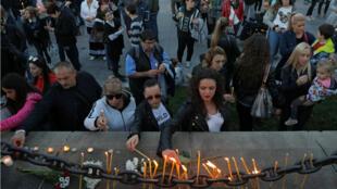 Vigilia en memoria de la periodista Viktoria Marinova en Ruse, Bulgaria, el 8 de octubre de 2018.