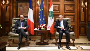 الرئيس الفرنسي فرانسوا هولاند في لبنان مع رئيس الحكومة اللبنانية تمام سلام 16 أبريل/نيسان 2016