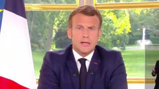 El presidente de Francia, Emmanuel Macron, hizo una alocución el domingo 14 de junio de 2020 sobre la siguiente fase del desconfinamiento, tras la pandemia del Covid-19.