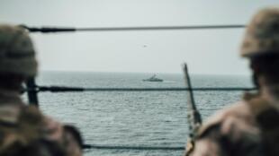 قوات تابعة للمارينز الأمريكية في مضيق هرمز. 18 يوليو/تموز 2019