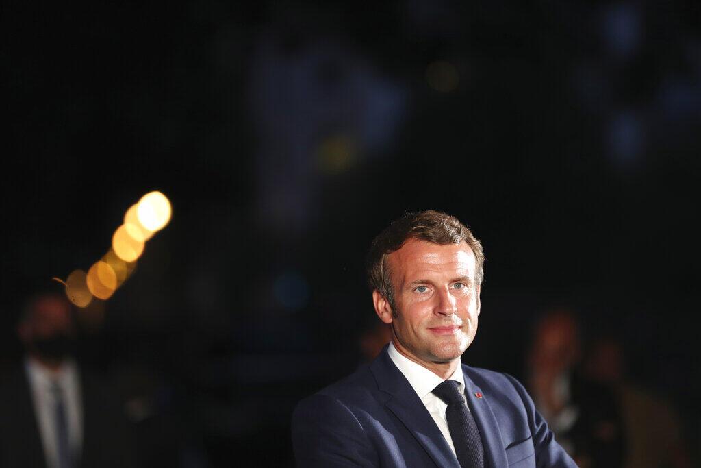Le président Emmanuel Macron lors d'une conférence de presse à l'issue de sa visite à Beyrouth, le 6 août 2020.