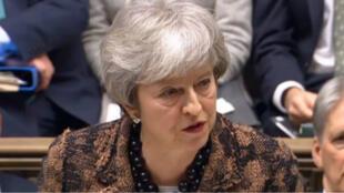 Captura de pantalla tomada de un video en una sesión del Parlamento británico en la que la primera ministra, Theresa May, presentó a los diputados su alternativa al acuerdo de Brexit presentado en Bruselas en noviembre de 2018. Londres, Reino Unido, el 21 de enero de 2019.