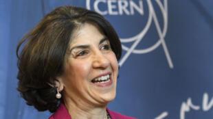 Fabiola Gianotti, la directora de la Organización Europea para la Investigación Nuclear, durante la inauguración del acelerador Linac en mayo de 2017 en Meyrin, cerca de Ginebra.