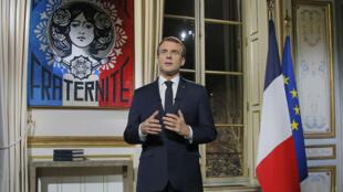 Le président Emmanuel Macron, lors des vœux, le 31 décembre 2018.