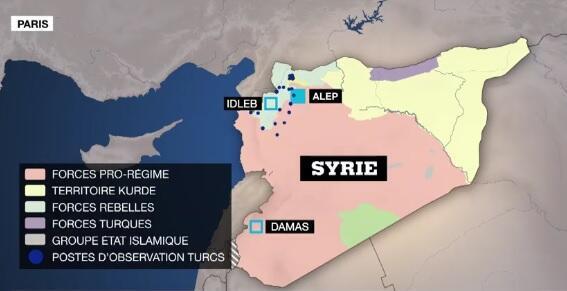 Les forces présentes en Syrie.