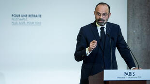 French Prime Minister Edouard Philippe addresses a press conference in París, France, on 11 December 2019.